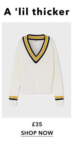 Cream V-Neck Cricket Knitted Jumper
