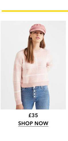Pink Checked Knitted Jumper