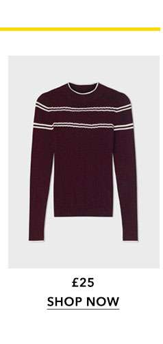 Burgundy Striped Pointelle Ribbed Knitted Top
