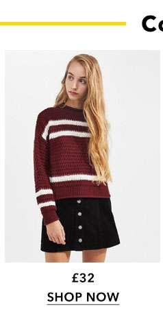 Red Textured Stripe Knitted Jumper