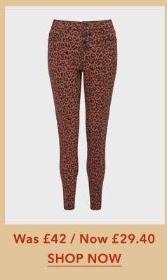 LIZZIE High Waist Skinny Fit Tan Animal Print Jeans