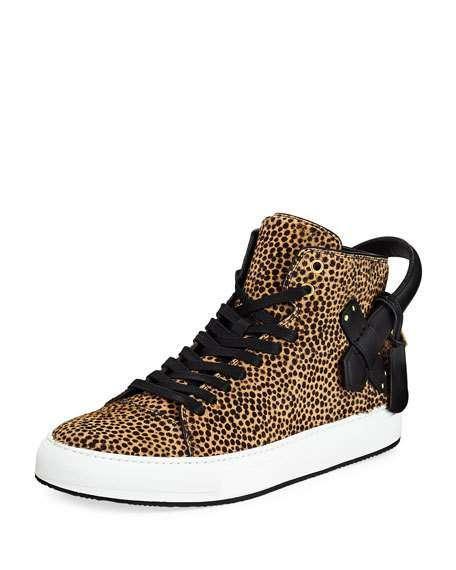 Men's 100mm Leopard Calf Hair High-Top Sneakers