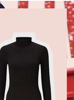 Black Long Sleeve Ribbed Roll Neck Top