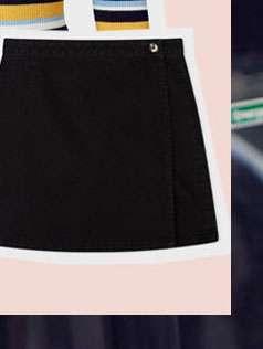 Black Wrap Over Denim Skirt