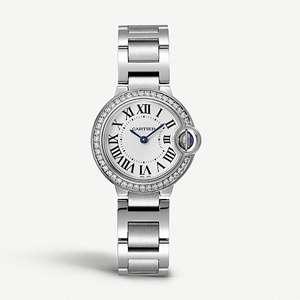 Ballon Bleu de Cartier steel and diamond watch