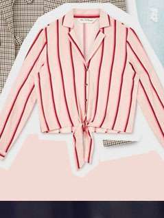 Striped Open Collar Tie Front Shirt