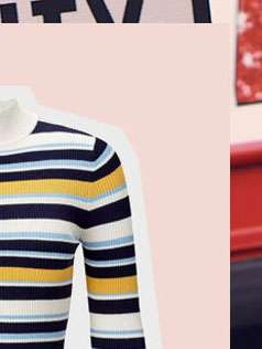 Striped Zip Funnel Neck Rib Knitted Top