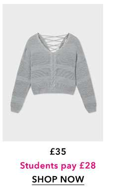 Grey Cable Lattice Back Knitted Jumper
