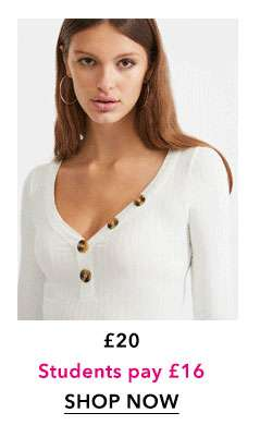 Ivory Long Sleeve Horn Button Top