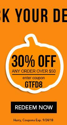 30% off any order over $50 with code GTFD8. Ends 9/24/18