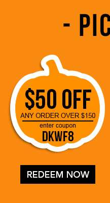 $50 off any order over $150 with code DKWF8. Ends 9/24/18