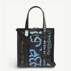 Bazaar leather graffiti tote bag