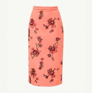 Maira floral-embroidered crepe midi skirt
