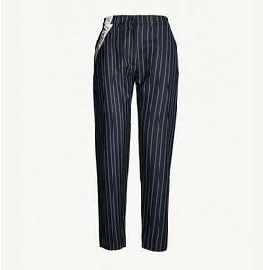 Pinstriped high-rise wool trousers