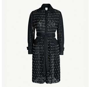 Sylvia faux-pearl embellished woven coat dress