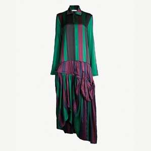 Drop-waist striped silk-satin midi dress