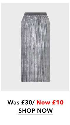 Silver Pleat Midi Skirt