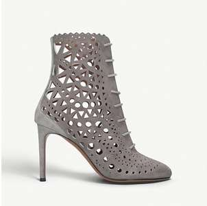 Laser-cut suede heeled boots