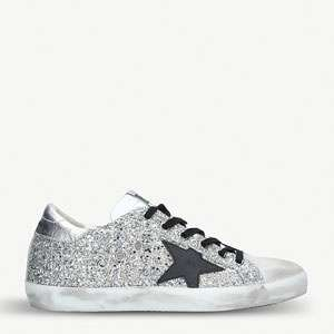 Superstar H14 glittered-leather trainers