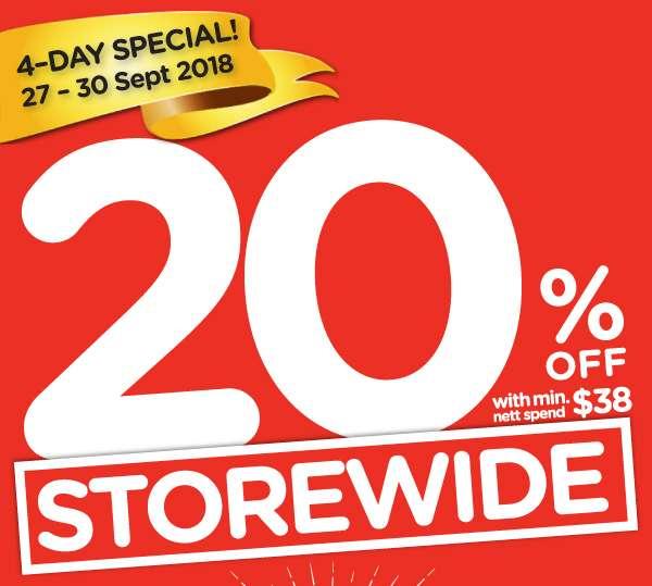 Storewide 20% Sale with min. $38