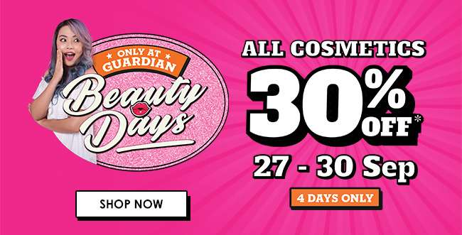 Click here for 30% off ALL COSMETICS from 27-30 Sep!