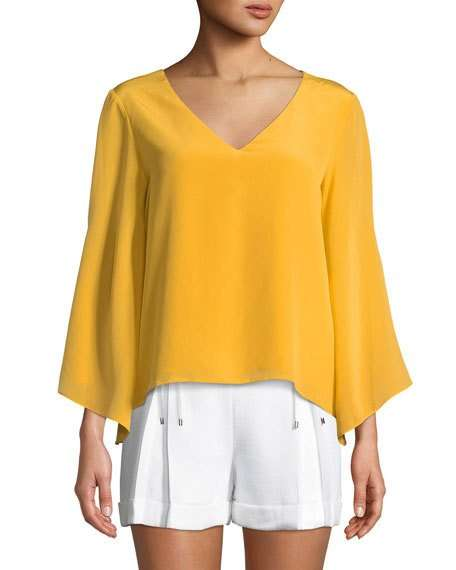 Orie Cape-Sleeve Silk V-Neck Top