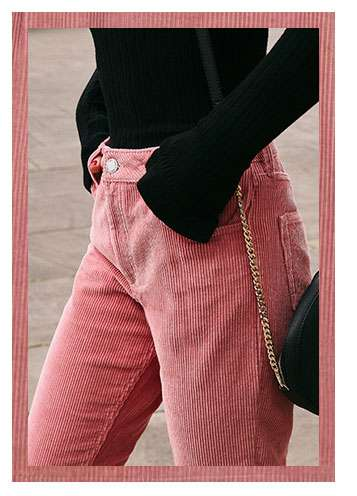 Cropped Straight Leg Pink Cord Trouser