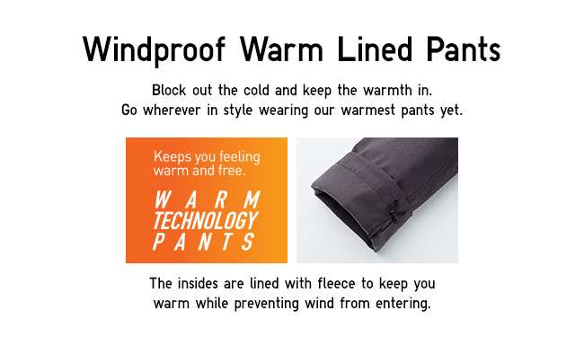Windproof Warm Lined Pants