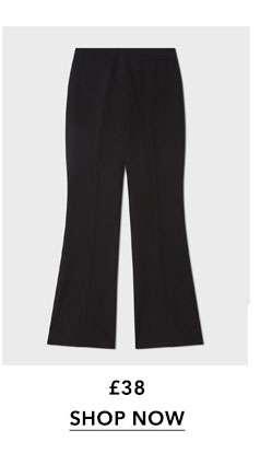 Black Full Length Kick Flare Trousers