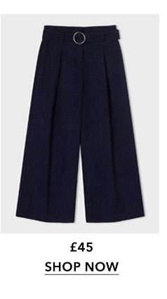 Navy Cord Cropped Wide Leg Trousers