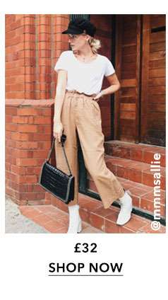 Camel Cropped Paper Bag Trousers