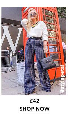 Navy Check Wide Leg Trousers