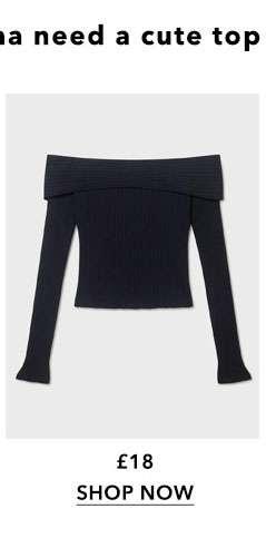 Black Long Sleeve Jumbo Rib Bardot Top