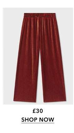 Velvet Striped Wide Leg Trousers