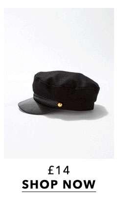 Black PU Peak Baker Boy Hat