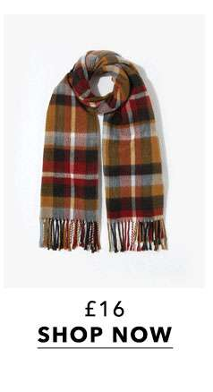 Blue Camel Checked Scarf