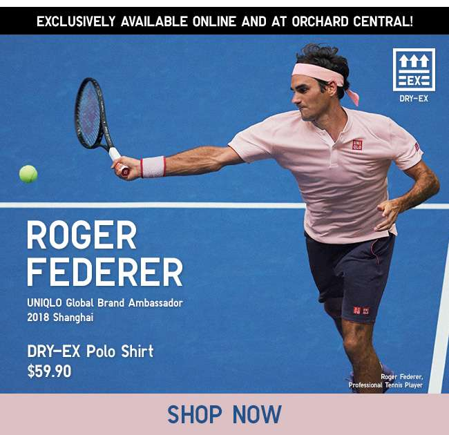 Shop Roger Federer DRY-EX Polo Shirt at $59.90