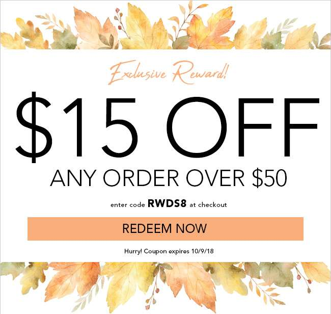 $15 Off any order over $50. Use code: RWDS8. Offer expires 10/9/18