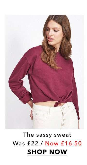 Burgundy Knot Front Sweatshirt