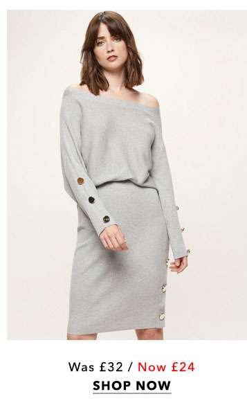 Grey Button Knitted Pencil Skirt