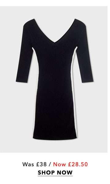 Black V-Neck Side Stripe Ribbed Knitted Dress
