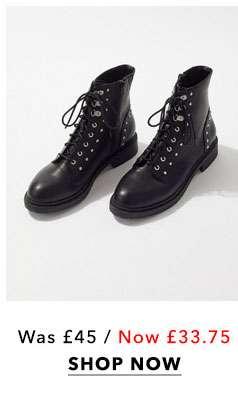 Black Alexa Stud Military Boots