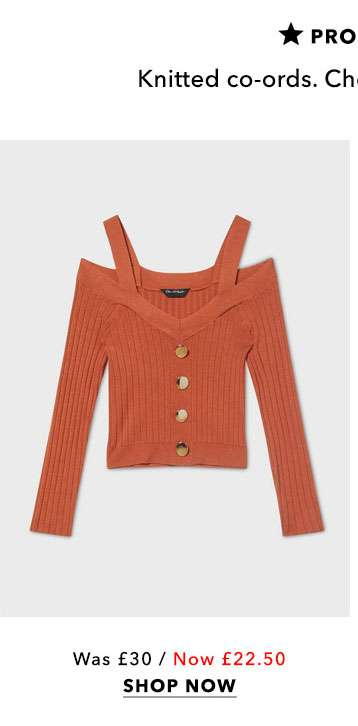 Cold Shoulder Button Rib Knitted Top