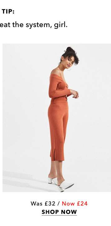 Rust Ribbed Knitted Culottes