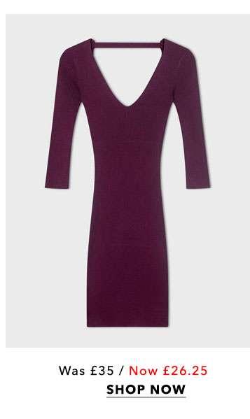 Burgundy V-Neck Ribbed Knitted Dress