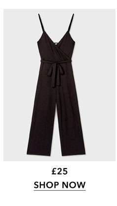 Wrap Front Ribbed Culottes Jumpsuit