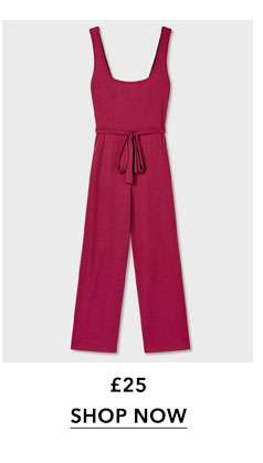 Berry Square Neck Ribbed Culottes Jumpsuit