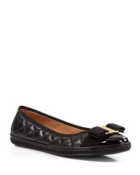 Salvatore Ferragamo Womens Rufina Quilted Cap Toe Leather Sneaker Flats