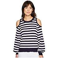 MICHAEL Michael Kors: Striped Cold Shoulder Sweater