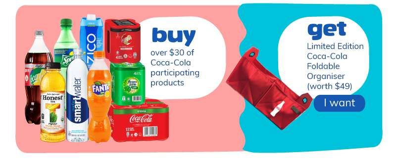 Buy over $30 of Coca-Cola participating products and get Coca-Cola foldable organiser worth $49